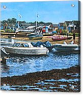 Christchurch Hengistbury Head Beach With Boats Acrylic Print by Martin Davey