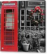 Christmas - The Red Telephone Box And Christmas Wreath IIi Acrylic Print by Lee Dos Santos