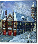 Christmas At The Fire House Acrylic Print by Rita Brown
