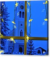 Christmas Decoration - Yellow Stars And Blue Church Acrylic Print by Matthias Hauser