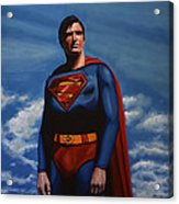 Christopher Reeve As Superman Acrylic Print by Paul Meijering