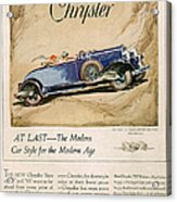 Chrysler 1928 1920s Usa Cc Cars Acrylic Print by The Advertising Archives
