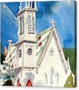 Church With Jet Contrail Acrylic Print by Kip DeVore