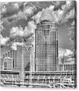 Cincinnati Ballpark Clouds Bw Acrylic Print by Mel Steinhauer