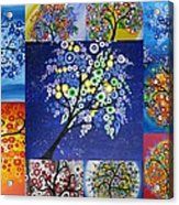 Circle Tree Collage Acrylic Print by Cathy Jacobs