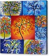 Circle Trees Acrylic Print by Cathy Jacobs