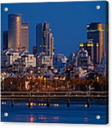 city lights and blue hour at Tel Aviv Acrylic Print by Ron Shoshani