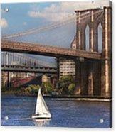 City - Ny - Sailing Under The Brooklyn Bridge Acrylic Print by Mike Savad