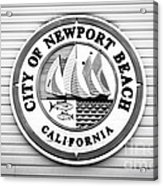 City Of Newport Beach Sign Black And White Picture Acrylic Print by Paul Velgos