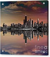 City Skyline Dusk Acrylic Print by Bedros Awak