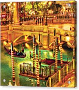 City - Vegas - Venetian - The Venetian At Night Acrylic Print by Mike Savad