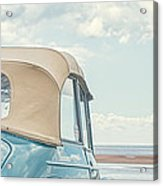 Classic Vintage Morris Minor 1000 Convertible At The Beach Acrylic Print by Edward Fielding