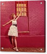 Classy Diva Standing In Front Of Pink Brick Wall  Acrylic Print by Kriss Russell