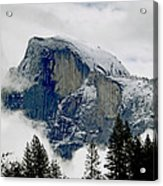 Clearing Storm Around Half Dome Acrylic Print by Bill Gallagher