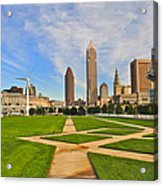Cleveland Skyline Acrylic Print by Frozen in Time Fine Art Photography