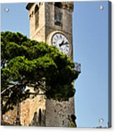 Clock Tower - Cannes - France Acrylic Print by Christine Till