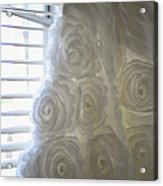 Close-up Of Flower Wedding Dress Acrylic Print by Mike Hope