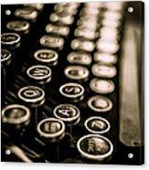 Close Up Vintage Typewriter Acrylic Print by Edward Fielding