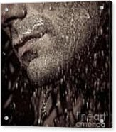 Closeup Of Mans Chin With Stubble Acrylic Print by Oleksiy Maksymenko