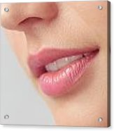 Closeup Of Woman Mouth With Pink Lips Acrylic Print by Oleksiy Maksymenko