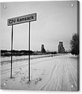 Cn Canadian National Railway Tracks And Grain Silos Kamsack Saskatchewan Canada Acrylic Print by Joe Fox