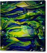 Cobalt Blue And Yellow Glass Macro Abstact Acrylic Print by David Patterson