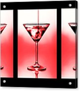 Cocktail Triptych In Red Acrylic Print by Jane Rix