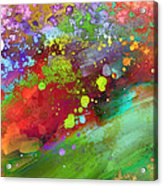 Color Explosion Abstract Art Acrylic Print by Ann Powell