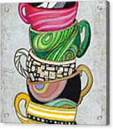 Colorful Coffee Cups Mugs Hot Cuppa Stacked II By Romi And Megan Acrylic Print by Megan Duncanson