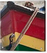 Colorful Rowing Boat Bow Close Up Acrylic Print by Matthew Gibson