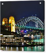 Colorful Sydney Harbour Bridge By Night Acrylic Print by Kaye Menner