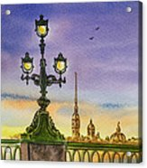 Colors Of Russia Bridge Light In Saint Petersburg Acrylic Print by Irina Sztukowski