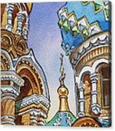 Colors Of Russia St Petersburg Cathedral II Acrylic Print by Irina Sztukowski