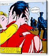 Comic Strip Kiss Acrylic Print by MGL Studio
