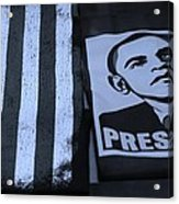 Commercialization Of The President Of The United States In Cyan Acrylic Print by Rob Hans