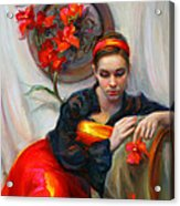 Common Threads - Divine Feminine In Silk Red Dress Acrylic Print by Talya Johnson
