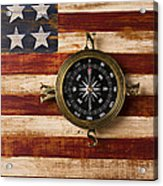 Compass On Wooden Folk Art Flag Acrylic Print by Garry Gay