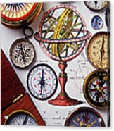 Compasses And Globe Illustration Acrylic Print by Garry Gay