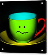 Confused Colorful Cup And Saucer Acrylic Print by Natalie Kinnear