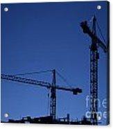 Construction Cranes At Dusk Acrylic Print by Antony McAulay