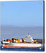 Container Ship At Sea Acrylic Print by Olivier Le Queinec
