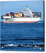 Container Ship Acrylic Print by Olivier Le Queinec