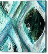 Contemporary Abstract- Teal Drops Acrylic Print by Linda Woods