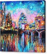 Contemporary Downtown Austin Art Painting Night Skyline Cityscape Painting Texas Acrylic Print by Svetlana Novikova