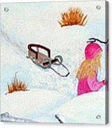 Cool  Winter Friend - Snowman - Fun Acrylic Print by Barbara Griffin