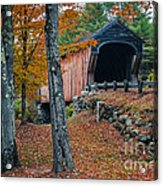 Corbin Covered Bridge Newport New Hampshire Acrylic Print by Edward Fielding