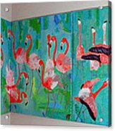 Corner Flamingos Acrylic Print by Vicky Tarcau