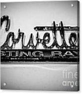 Corvette Sting Ray Emblem Acrylic Print by Paul Velgos