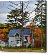 Country Cottage In Autumn Acrylic Print by Julie Dant