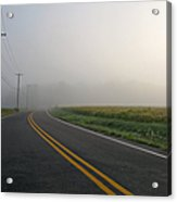Country Road In Fog Acrylic Print by Olivier Le Queinec